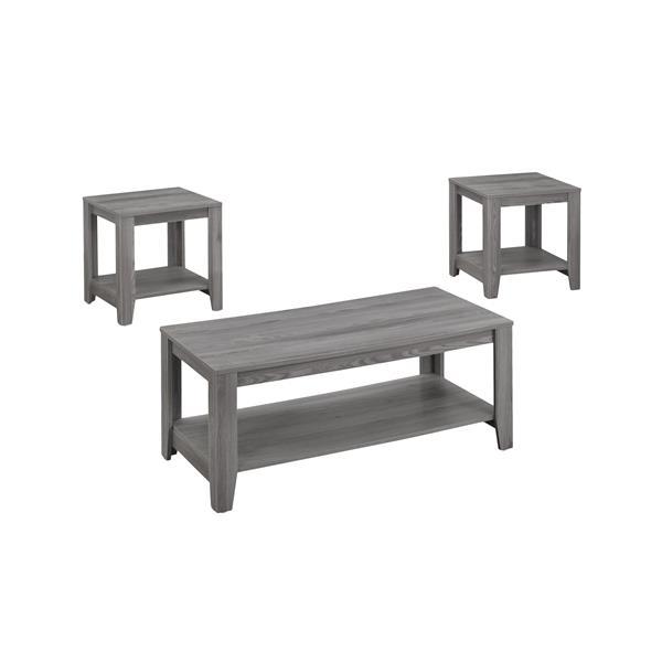 Table de salon Monarch en bois grises, 3 mcx