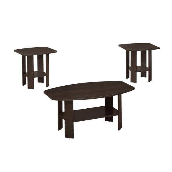 Monarch Wood Table Set - 3 Pieces - Cappuccino