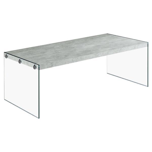 """Table basse rectangulaire en verre, 44"""", gris"""