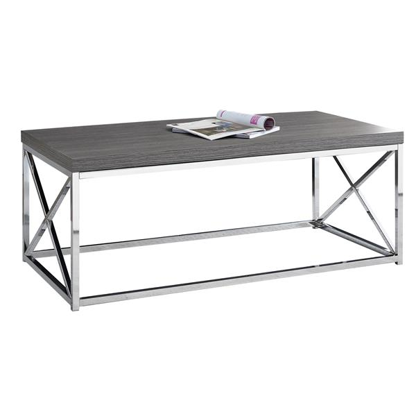 "Table basse rectangulaire, 44"", gris/chrome"