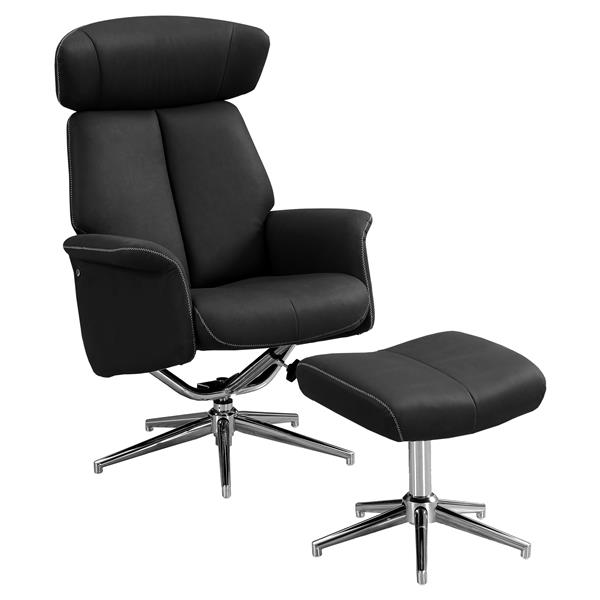 Monarch Leather Recliner Chair Set  - 2 Pieces - Black