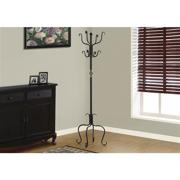 Monarch Traditional Coat Rack - 74-in - Black