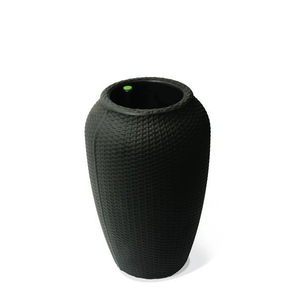 "Algreen Products Wicker Self-Watering Planter - 24"" x 15.5"" - Black"