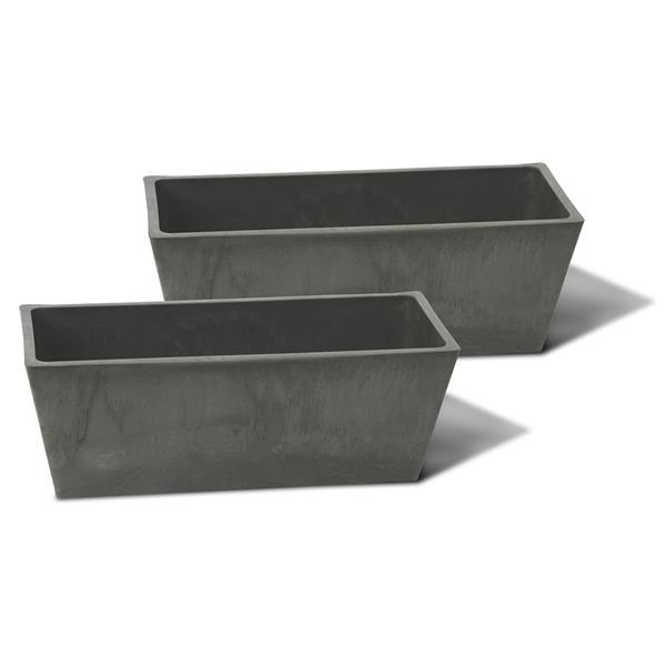 "Algreen Products Valencia Windowsill Planters - 14"" x 5.5"" - Slate - 2 pcs"