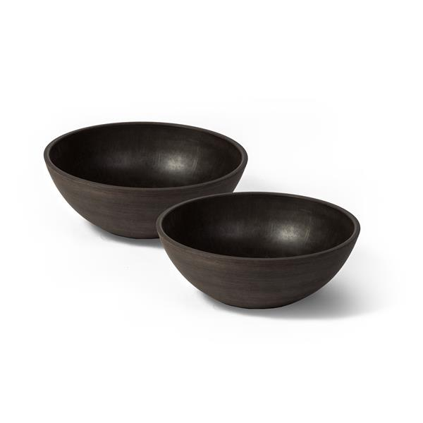 "Algreen Products Valencia Bowl Planters - 12"" x 4.75"" - Chocolate - 2 pcs"