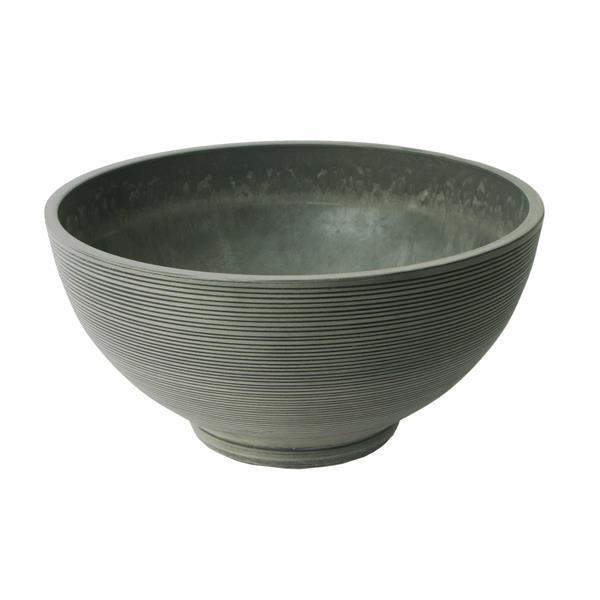 "Algreen Products Valencia Bowl Planter - 20"" x 10"" - Composite - Charcoal"
