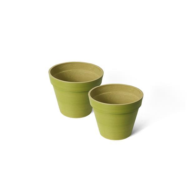 "Algreen Products Valencia Round Planters - 10"" x 8"" - Green - 2 pcs"
