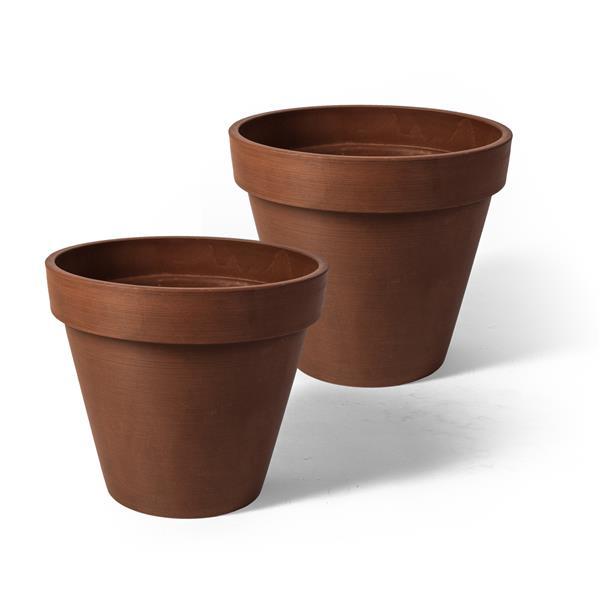 "Algreen Products Valencia Round Planters - 8"" x 7"" - Terracotta - 2 pcs"