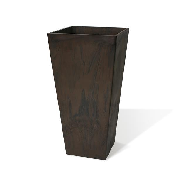 """Algreen Products Valencia Square Planter - 14"""" x 24"""" - Composite - Chocolate"""
