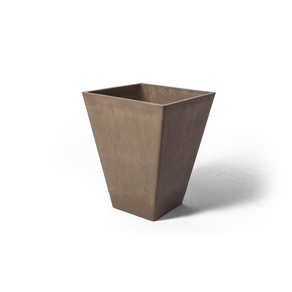 "Algreen Products Valencia Square Planter - 12"" x 14"" - Taupe Marble"