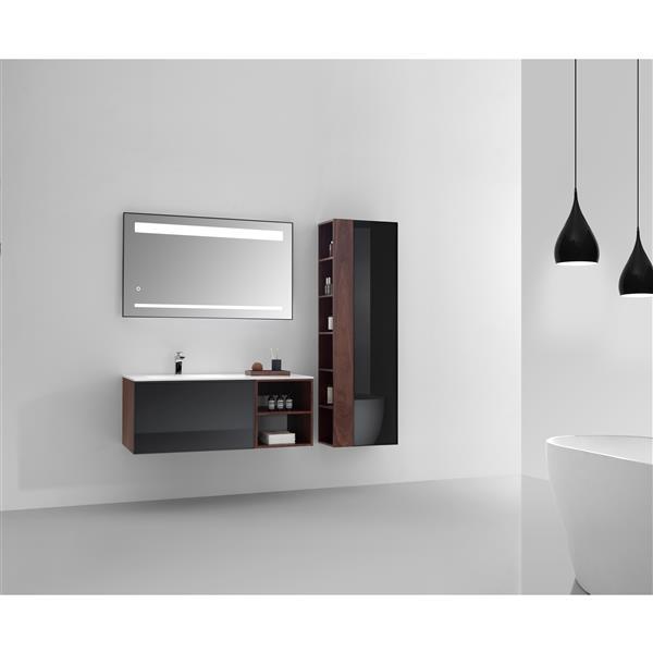 GEF Sage Vanity Set with Mirror and Linen Cabinet, 48-in Walnut