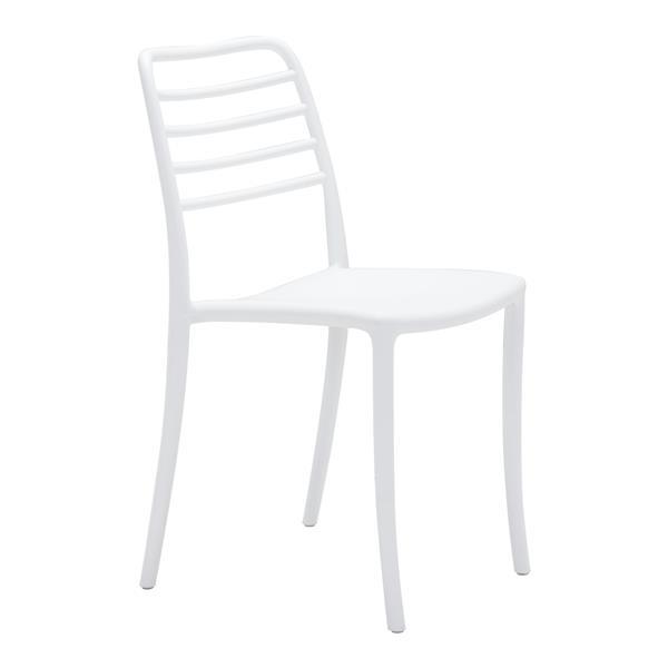 Chaise d'extérieur Donzo de Zuo Modern, 17,7 po x 18,3 po, blanc, ens. de 2