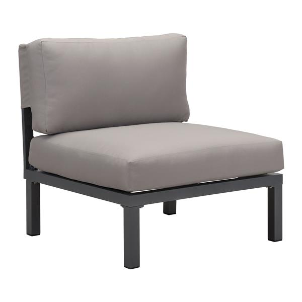 Zuo Modern Santorini Outddor Armless Chair - 16.9-in x 28-in - Grey