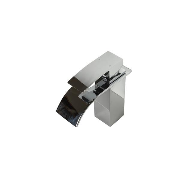 Robinet de salle de bain Waterfall, blanc et chrome