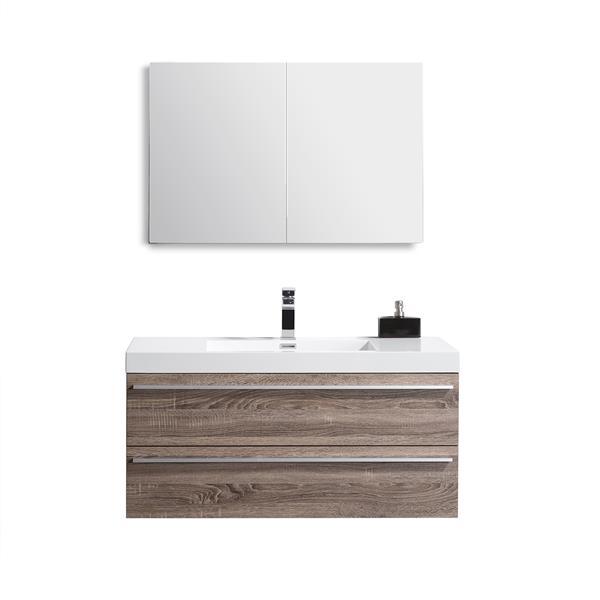 GEF Meuble-lavabo Rosalie avec armoire à pharmacie, 43 po. chêne clair