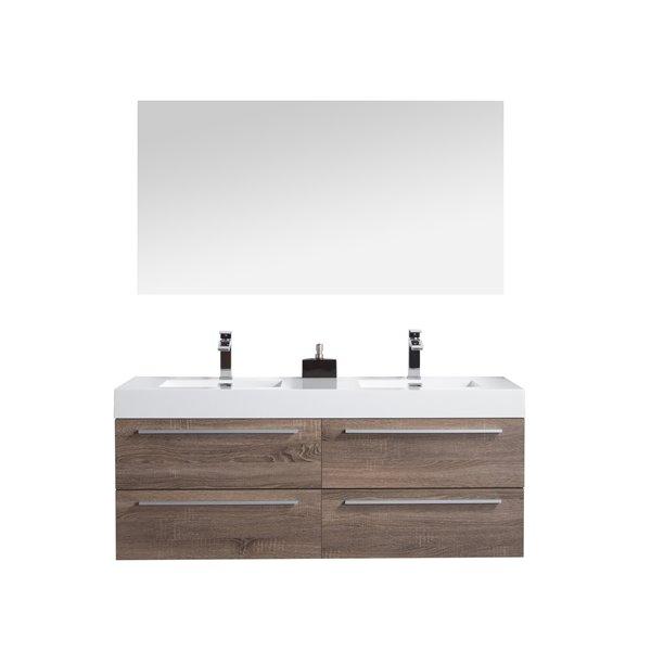 GEF Meuble-lavabo Rosalie avec armoire à pharmacie, 60 po. chêne clair