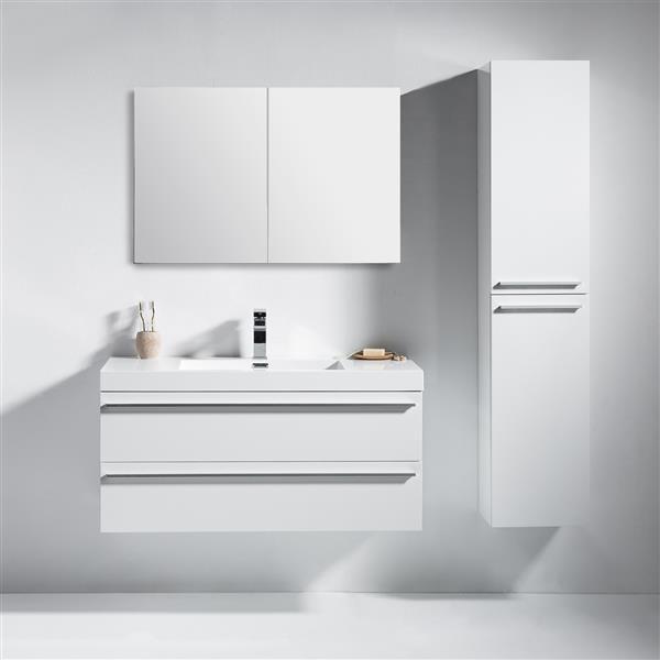 Meuble-lavabo Rosalie avec armoire à pharmacie, 42 po blanc