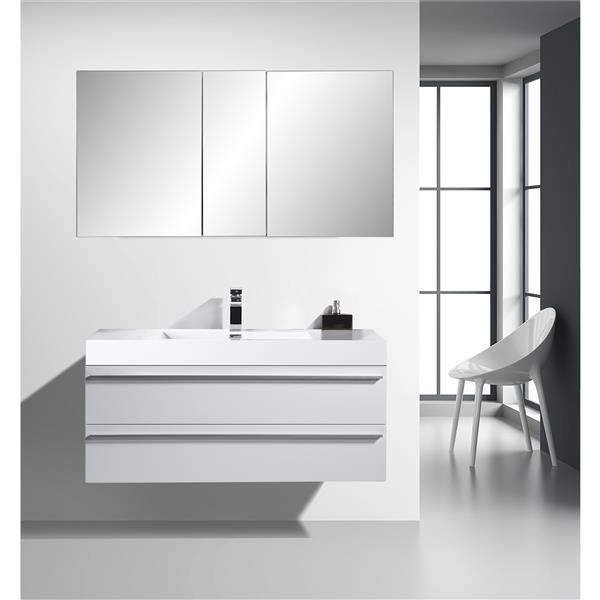 Meuble-lavabo Rosalie avec armoire à pharmacie, 48 po blanc