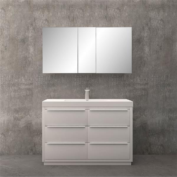 Meuble-lavabo Brooke avec armoire à pharmacie, 48 po blanc