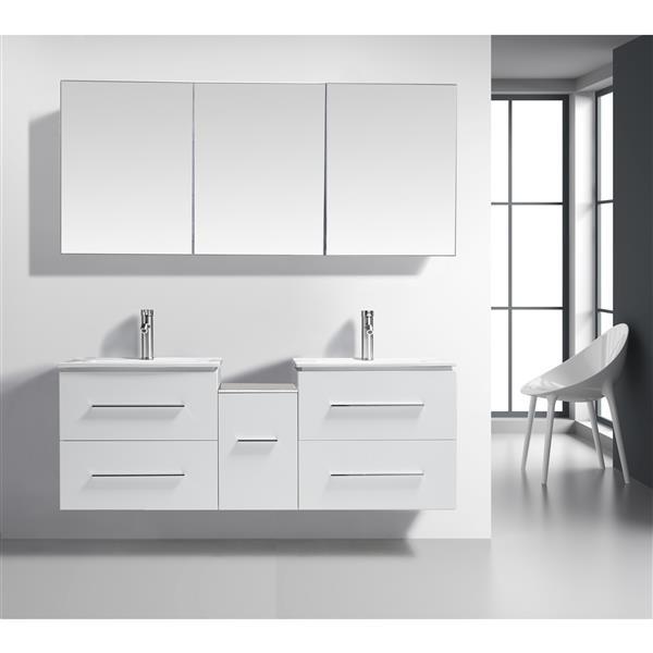 GEF Hadley Vanity Set with Medicine Cabinet, 60-in White