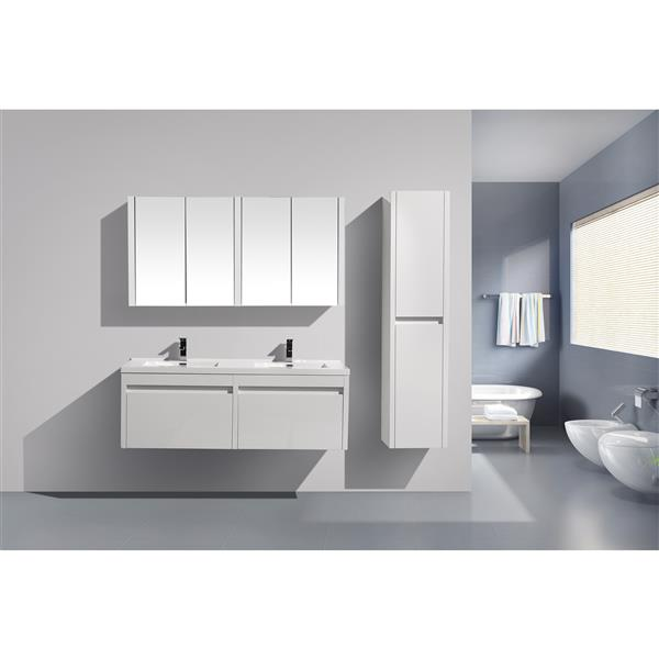 GEF Selena Vanity Set with Medicine Cabinet, 60-in White