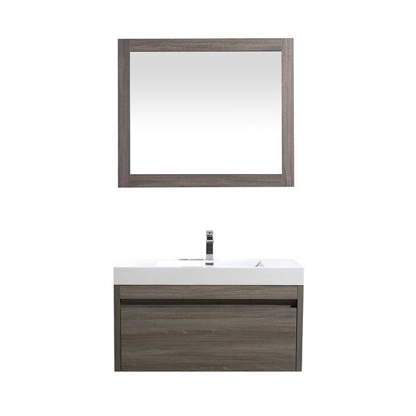 GEF Selena Vanity Set with Mirror, 36-in Maple Grey