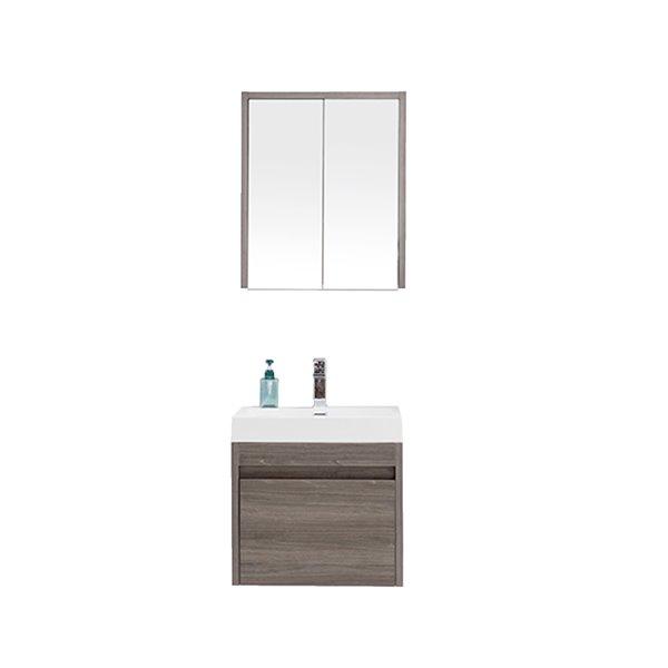 Meuble-lavabo Selena avec armoire, 24 po érable gris