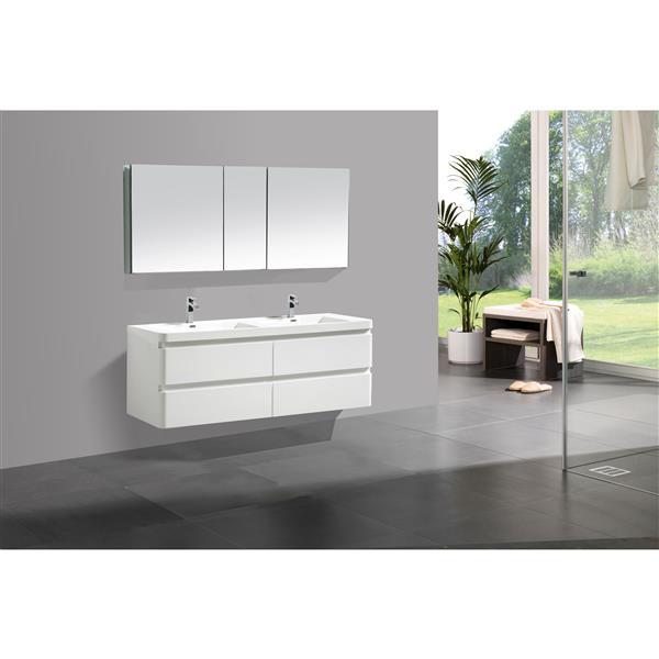 Meuble-lavabo Scarlett avec armoire à pharmacie, 60 po blanc