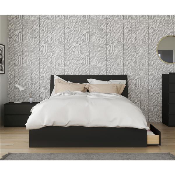 Ensemble de chambre à coucher garnd lit «Epik», 3 mcx, noir