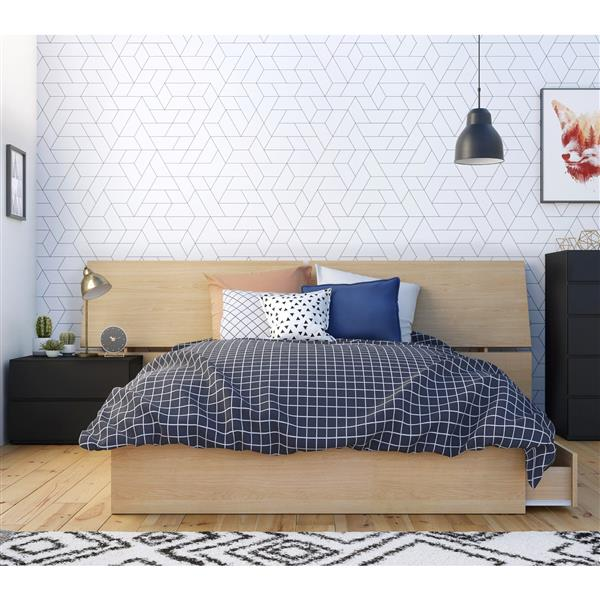 Nexera Parody Full Bedroom Set - 3 Pieces - Maple/Black