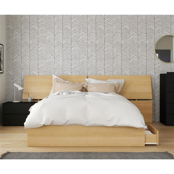 Nexera Parody Queen Bedroom Set - 3 Pieces - Maple