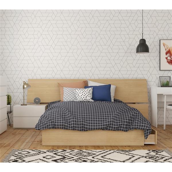 Nexera Bali Contemporary Full Bedroom Set - 3 Pieces - Maple/White