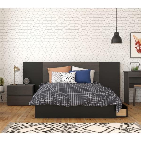 Nexera Evoque Full Bedroom Set - 4 Pieces - Ebony/Black