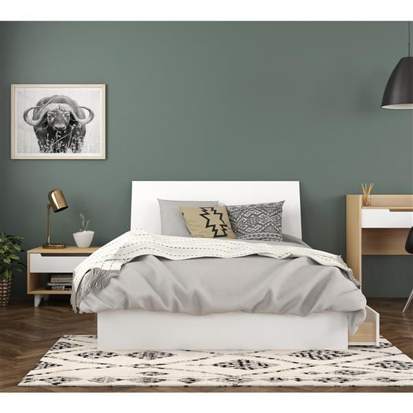 Nexera Radiance Full Bedroom Set - 3 Pieces - Maple/White