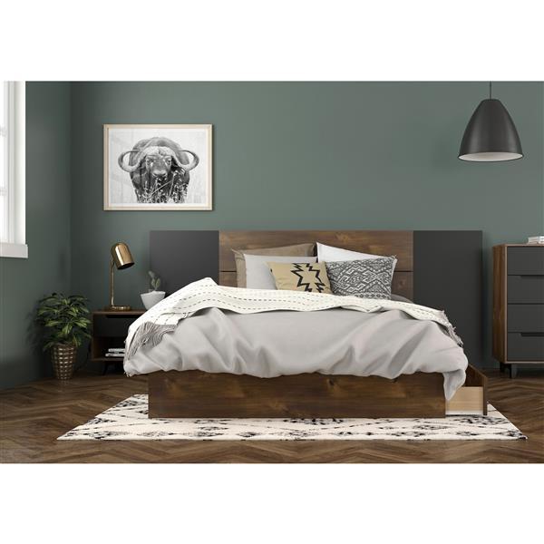 Nexera Oscuro Full Bedroom Set - 4 Pieces - Truffle/Black