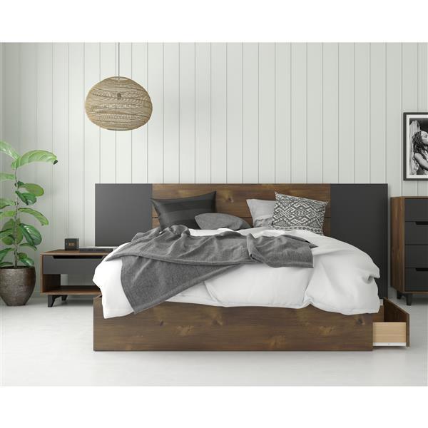 Nexera Oscuro Queen Bedroom Set - 4 Pieces - Truffle
