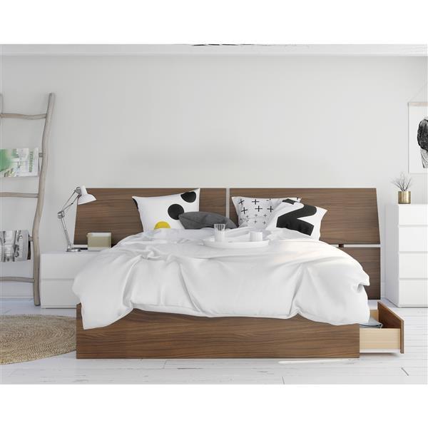 Nexera Oddense Queen Bedroom Set - 3 Pieces - Walnut