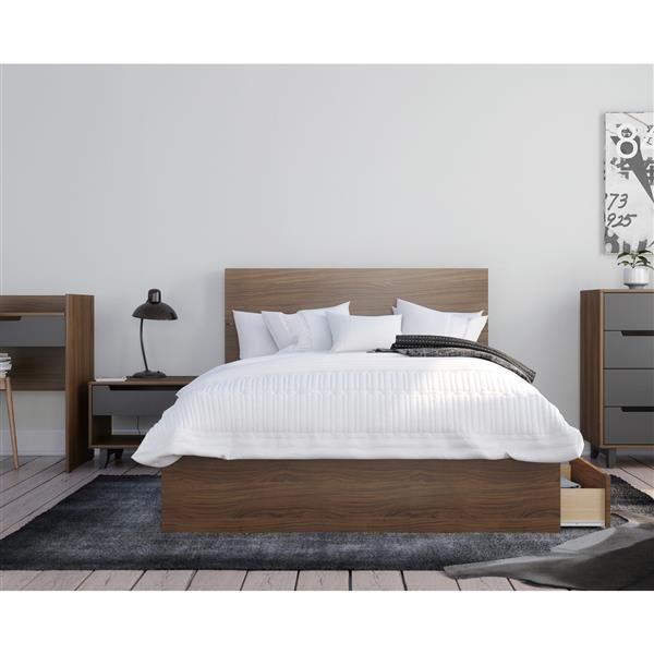 Nexera Mystik Full Bedroom Set - 3 Pieces - Walnut/Charcoal