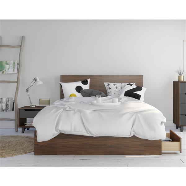 Ens. chambre à coucher grand lit «Mystik», 3 mcx, noyer/gris