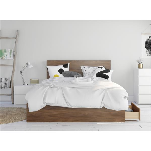 Nexera Hera Queen Bedroom Set - 3 Pieces - Walnut/White
