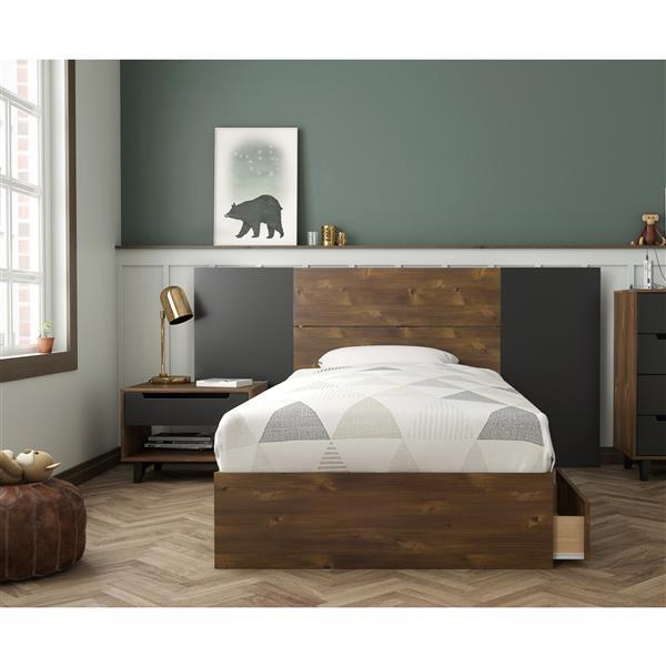 Nexera Oscuro Twin Bedroom Set - 4 Pieces - Truffle