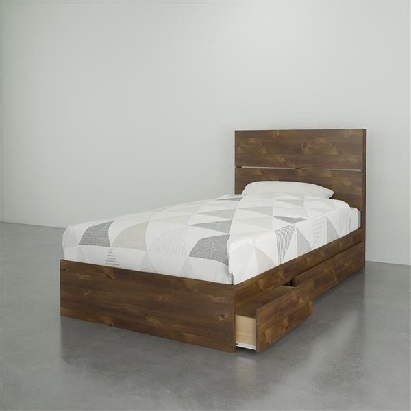 Nexera Contemproary Twin Bedroom Set - 2 Pieces - Truffle
