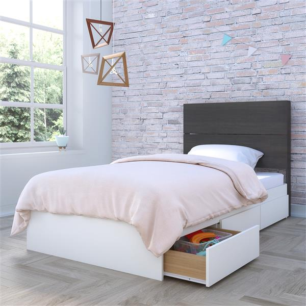 Ens. chambre à coucher simple Nexera(MD), 2 mcx, ébène/blanc