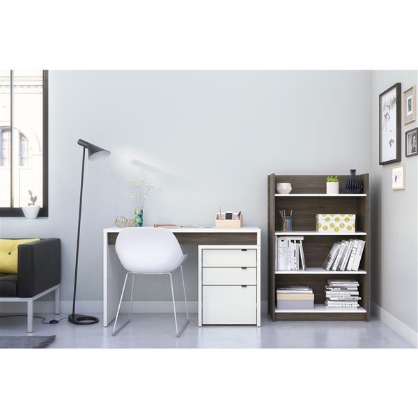 Nexera Chrono Contemporary Home Office Set - 3 Pieces - Grey/White