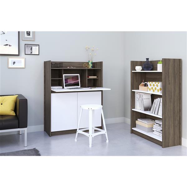 Nexera Chrono Contemporary Home Office Set - 2 Pieces - Grey/White