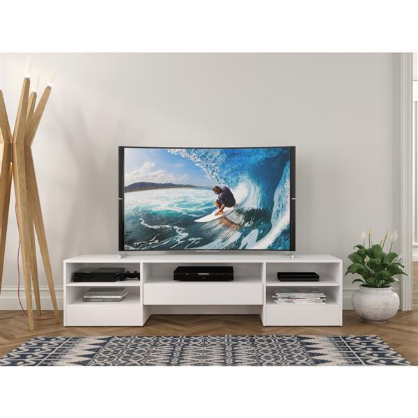 Nexera Rustik TV Stand - 72-in - 1-Drawer - Wood - White
