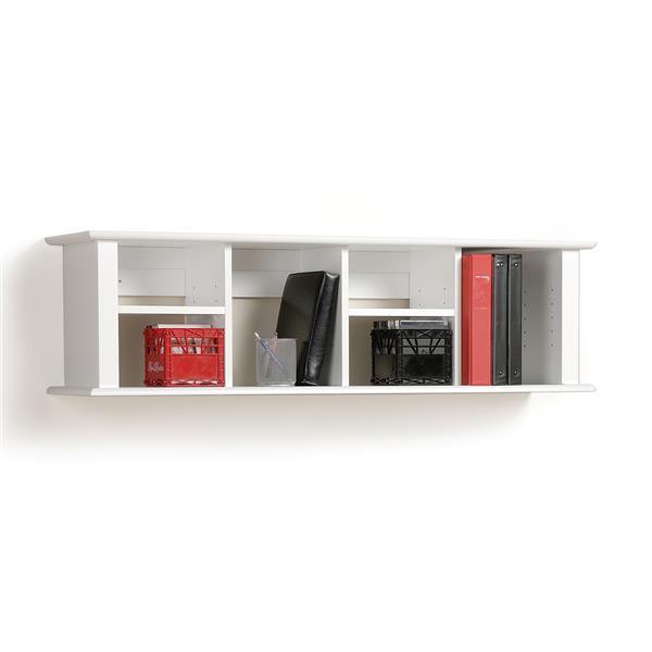 Prepac Wall Mounted Desk Hutch - White - 48-in x 13-in