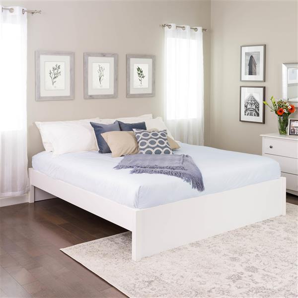 Base de très grand lit plateforme à colonnes Select, blanc