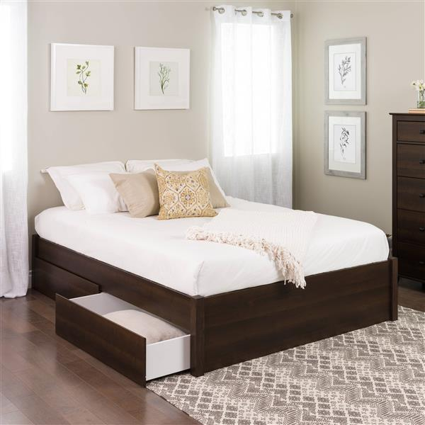 Prepac Select Platform Bed with 4 Drawers - Expresso - Queen