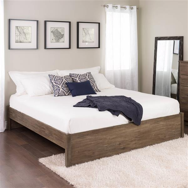 Prepac Select 4-Post Platform Bed - Drifted Gray - King